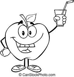 esquissé, boisson, pomme, tenue