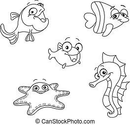 esquissé, créatures mer
