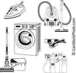 esquissé, ensemble, outils, nettoyage