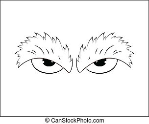 esquissé, fâché, yeux, dessin animé