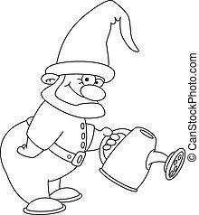 esquissé, gnome, jardinier
