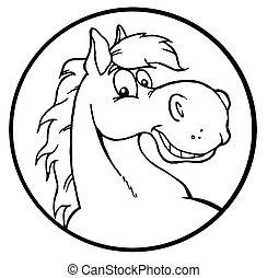 esquissé, heureux, cheval, dessin animé