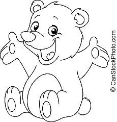 esquissé, heureux, ours, teddy