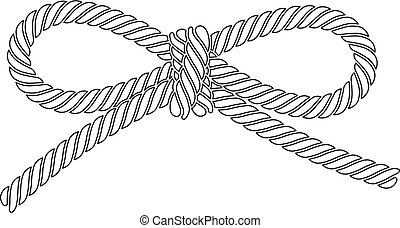 esquissé, isolé, arc, corde, arrière-plan., vecteur, blanc