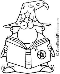 esquissé, magicien, livre, tenue