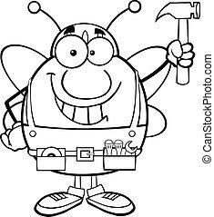 esquissé, marteau, haut, tenue, abeille