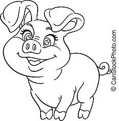 esquissé, mignon, bébé, cochon, heureux, dessin animé