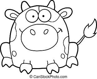 esquissé, mignon, dessin animé, vache