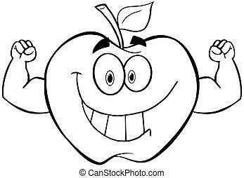esquissé, muscle, pomme, bras