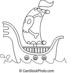 esquissé, pirate, bateau