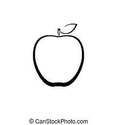esquissé, pomme, signe