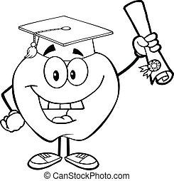 esquissé, pomme, tenue, diplôme