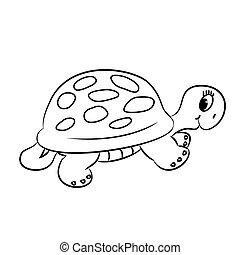 esquissé, tortue, dessin animé