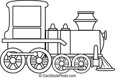 esquissé, vector., dessin animé, toy., train