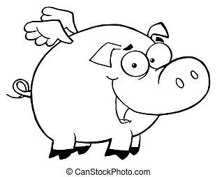 esquissé, voler, cochon