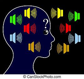 esquizofrenia, ouvindo, vozes