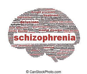 esquizofrenia, símbolo, aislado, blanco