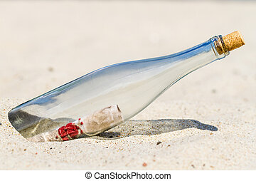 essage in a bottle on the beach