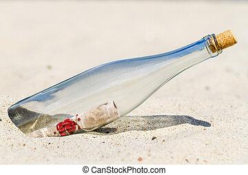 essage, plage, bouteille