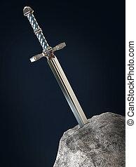 essai, collé, pierre, arthur, isolé, candidat, épée, candidat, excalibur, render., roi, métaphore, rocher