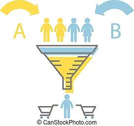 essai, entonnoir, infographics, commercialisation, ab, -, numérique, stratégies