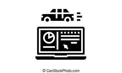 essai, glyph, programme, voiture, icône, animation, informatique