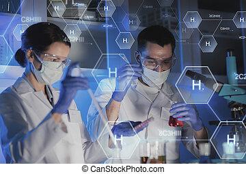 essai, haut, scientifiques, confection, fin, laboratoire