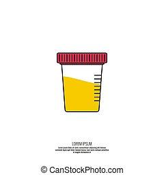 essai, icône, urine, vecteur