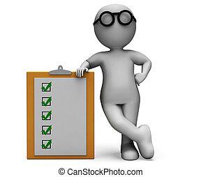 essai, liste contrôle, questionnaire, presse-papiers, spectacles