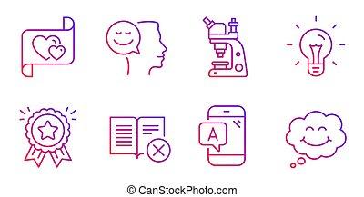 essai, livre, lettre, signs., refuser, amour, idée, vecteur, humeur, bon, icônes, set., ab, microscope
