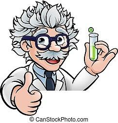 essai, tenue, scientifique, haut, dessin animé, tube, pouces