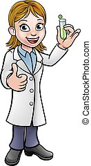 essai, tenue, tube, scientifique, dessin animé