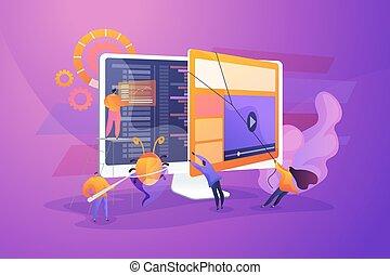 essai, vecteur, logiciel, illustration, concept