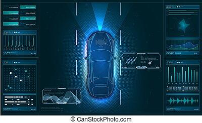 essai, vecteur, ui, matériel, diagnostics., virtuel, style, balayage, gui, condition, contrôler, diagnostic, analysis., hud., service, autoscanning, interface, voiture, graphique, hud, analyse, voiture