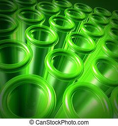 essai, vert, tubes