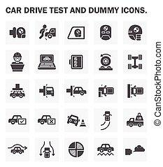 essai, voiture, icône