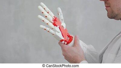 essais, mouvement, orthopedist, docteur, essayer, conduites, prothétique, main, robotique, confection, doigts, gestures.