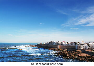 White town at the ocean. The town of Essaouira, Morocco, at the Atlantic Ocean.