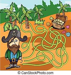 essayer, trouver, -, jeu, pirate, vecteur, labyrinthe, boîte, trésor