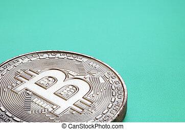 essbare , währung, plastik, crypto, bitcoin, form, physisch, hintergrund., produkt, grün, kakau, lies, modell