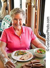 essen, campingbus, frau, älter