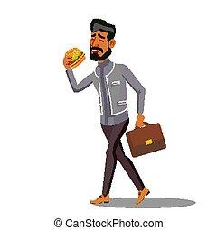 essen essen, schnell, freigestellt, gehen, abbildung, vector., geschäftsmann, hamburger, karikatur