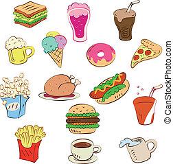 essen, satz, schnell, ikone