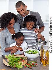 essen, zusammen, familie, lustig