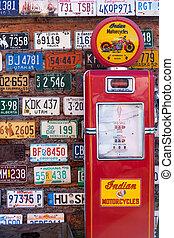 essence, américain, station, vieux