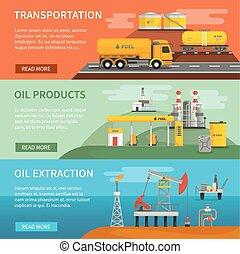 essence, bannières, ensemble, industrie, huile