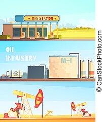 essence, bannières, industrie, horizontal