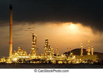 essence, beau, usine, puissance, nuit, raffinerie, huile, usine pétrochimique, brillé