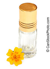 Essence bottle with yellow flower