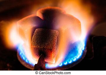 essence, charbon de bois, shisha, brûleur